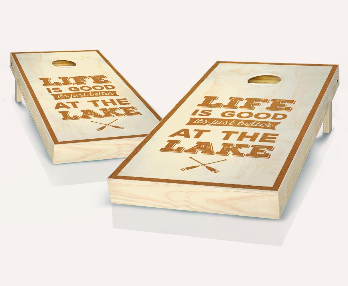 Life Is Better At The Lake Maple StainedカスタムCornholeボードregulation sizeゲームセットBaggo Bean Bag Toss + 8 ACA Regulation Bags B07CNBTKVB