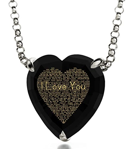 """925 Silver Plated /'I LOVE YOU/' Necklace Romantic Heart Rolo Chain Pendant 18/"""" UK"""