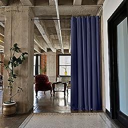 RoomDividersNow Black Tension Curtain Rod, 80in-120in