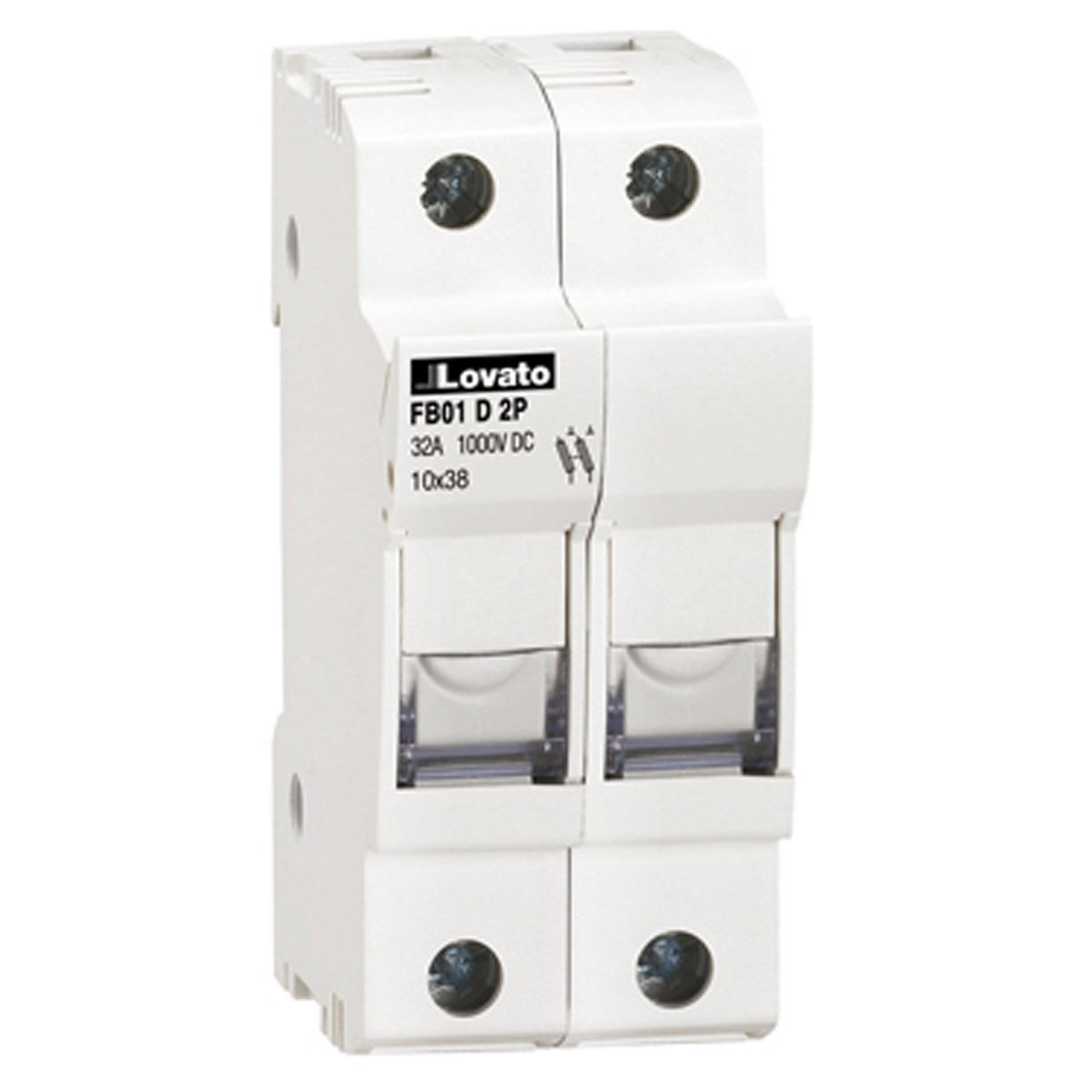 ASI AFB01D2P DIN Rail Mounted Midget Fuse Holder, 2 Pole, 10 x 38 mm, 18 to 8 AWG, 32 Amp, 1000 VDC, PV Rated