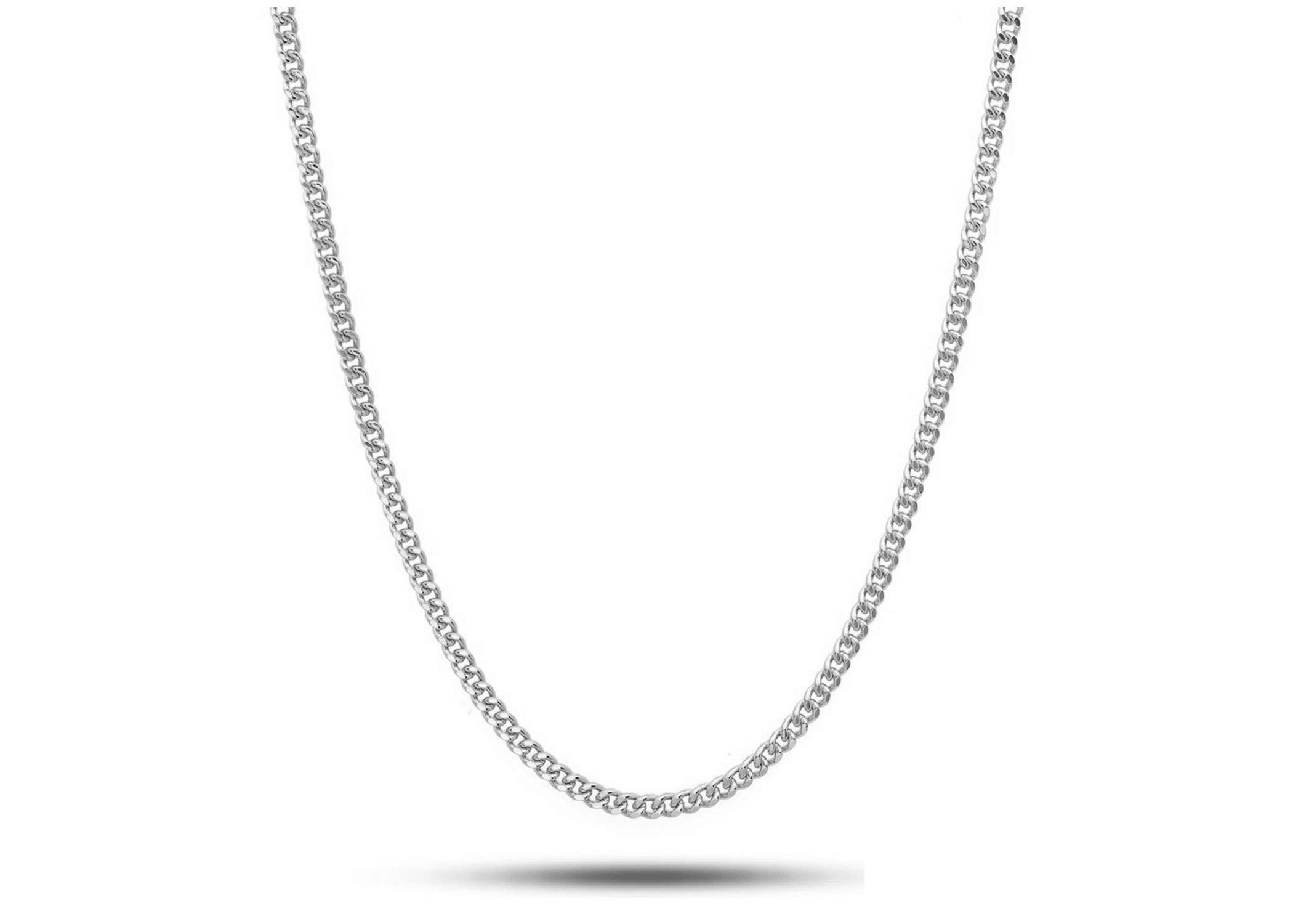 Pori Jewelers Genuine Platinum 950 Solid Diamond Cut Cuban/Curb Chain Necklace -1.0mm Thick (18)