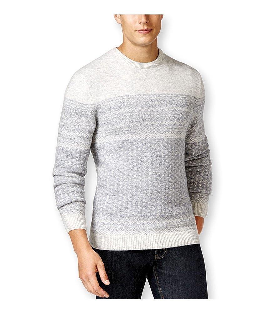 ca5725db9 Tasso Elba Mens Fair-Isle Crew Pullover Sweater pearlslvrmarl 2XL at ...