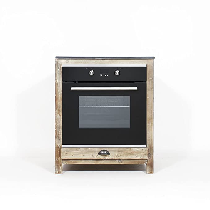 Mueble Cocina authentiq Madera reciclada 70 cm para Horno y Placas ...