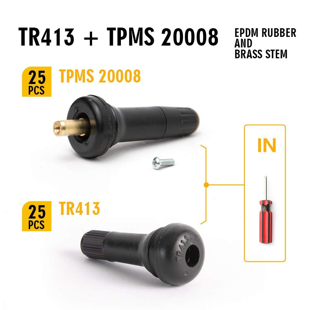 TQ Pro. TR413 (25pcs/Bag) TPMS 20008 VS 950(25pcs/Bag) Rubber Snap-in Tire Valve Stem Replacement (Valve Tool in) by TQ Pro.