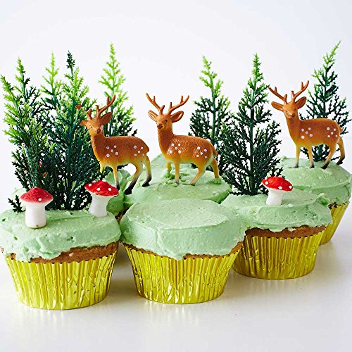 Woodland Creatures Baby Shower Birthday Cupcake Decorating Display Kit (6) Deer Pick Novelty Toppers (12) Pine Tree Novelties (6) Edible Red Sugar Mushrooms (30) Gold Foil Cupcake Liners - Sugar Babies Baby Bunting