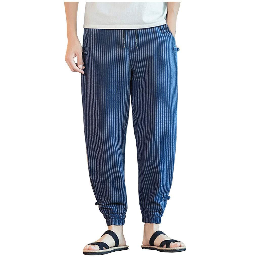 FEDULK Men's Harem Pant Striped Print Comfortable Fit Beam Legging Plus Size Trouser(Navy, XXXX-Large) by FEDULK