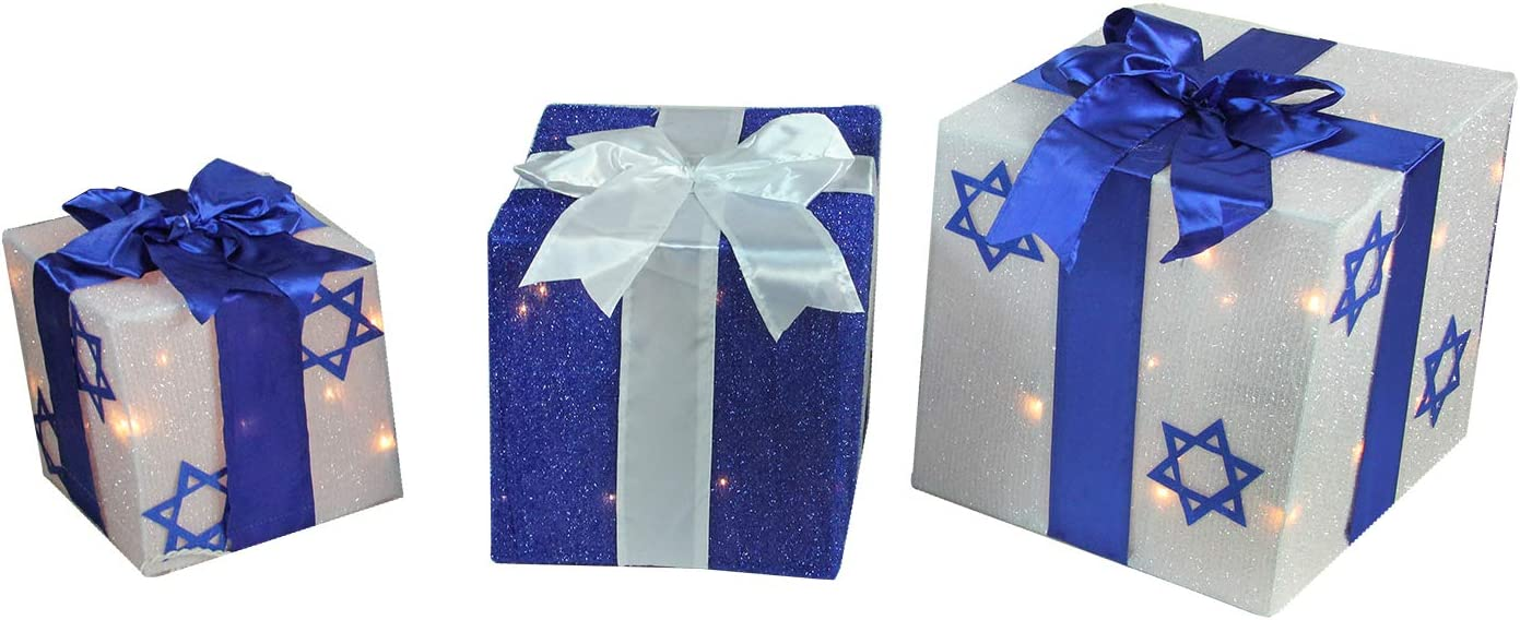 Northlight ZG15678 3-Piece Lighted White and Blue Gift Box Hanukkah Outdoor Decoration