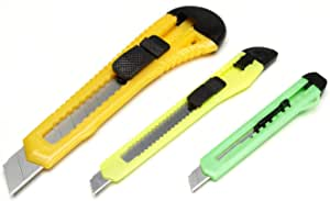Darice Retractable Razor Knife Set, 3 Knives, Assorted Sizes and Colors - Craft Knife Set for Cutting Paper, Cardboard and Thin Sheets of Plastic, Includes Replacement Blades