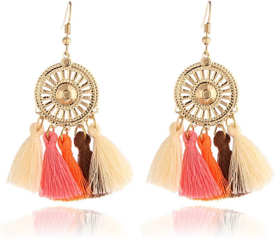 SSEHL Pendientes Bohemio Largo Rojo Pendientes de la Borla para Las Mujeres Vintage Fringe Pendientes de Gota del Partido joyería de la Boda