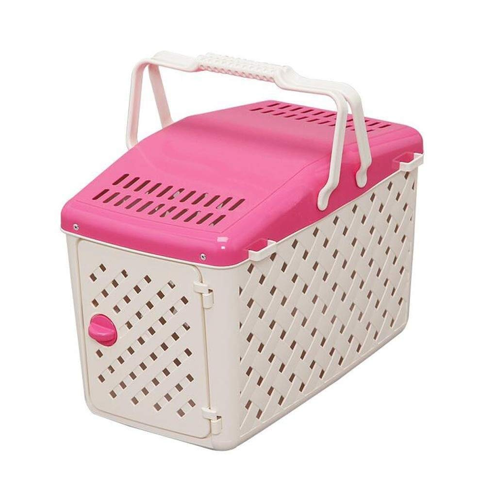 Pink TTZ Pet Backpack Portable Carrier Portable Plastic Basket Breathable Pet Cage, Cat And Dog Available, Suitable For Hiking Camping Camping