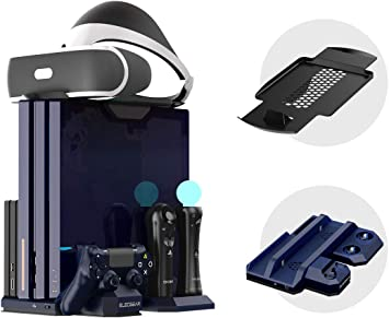 Todo para el streamer: Soporte Vertical para Playstation - ElecGear PSVR Stand, Ventilador de Refrigeración, LED Estación de Carga Cargador de Controlador DualShock 4 y Move Controller Mando Charger para PS4, Slim y Pro