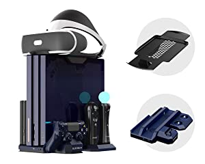 ElecGear PS4 Vertical Cooling Stand with Charger, PSVR Headset Support, Controller Charging Docking Station, 2x Fan Cooler, Storage Holder for PlayStation 4, Pro, Slim, DualShock 4 and Move Motion