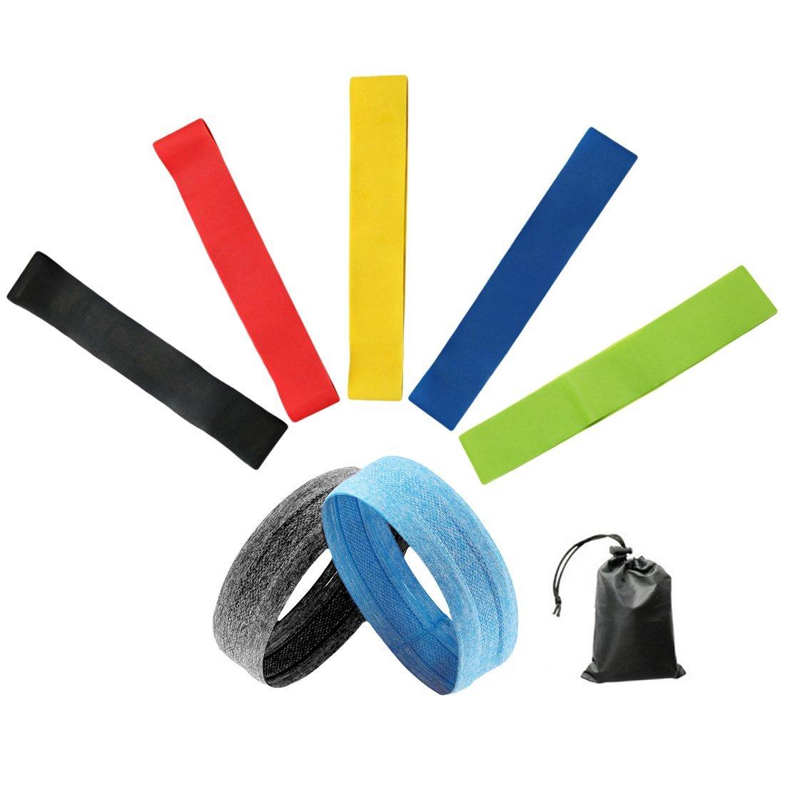 Idealcoldbrew レジスタンスループエクササイズバンド 冷却ヘッドバンド 取扱説明書 キャリーバッグ 5本セット ホームフィットネス ストレッチ 筋力トレーニング 理学療法 B07G2GWPH7