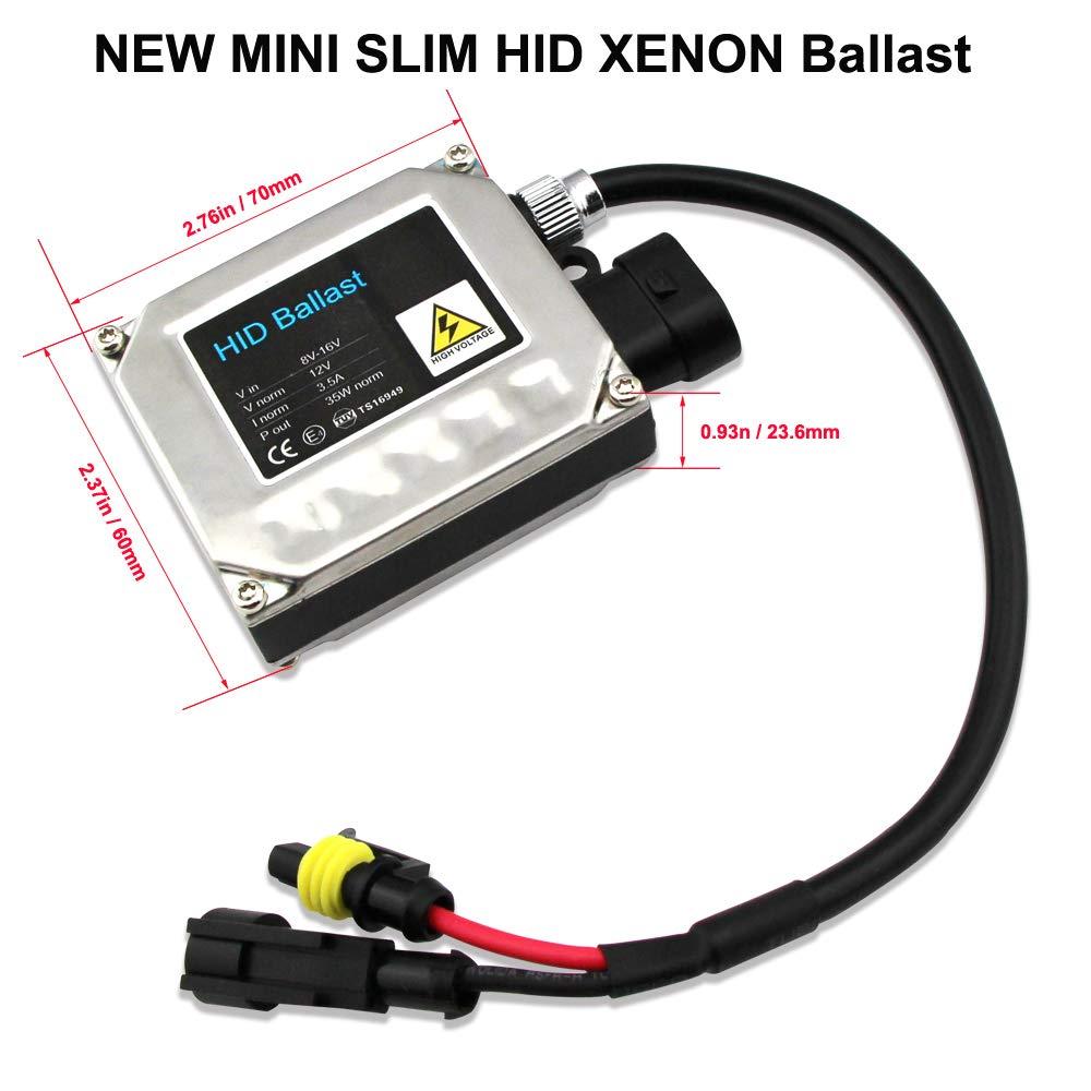 confezione da 2 kit di conversione H4 9003 HID Xenon Hi//Lo ballast digitale HID con cavi per lampada allo xeno telescopico 6000 K Xenon bianco 35 W kit per fari auto Hsun