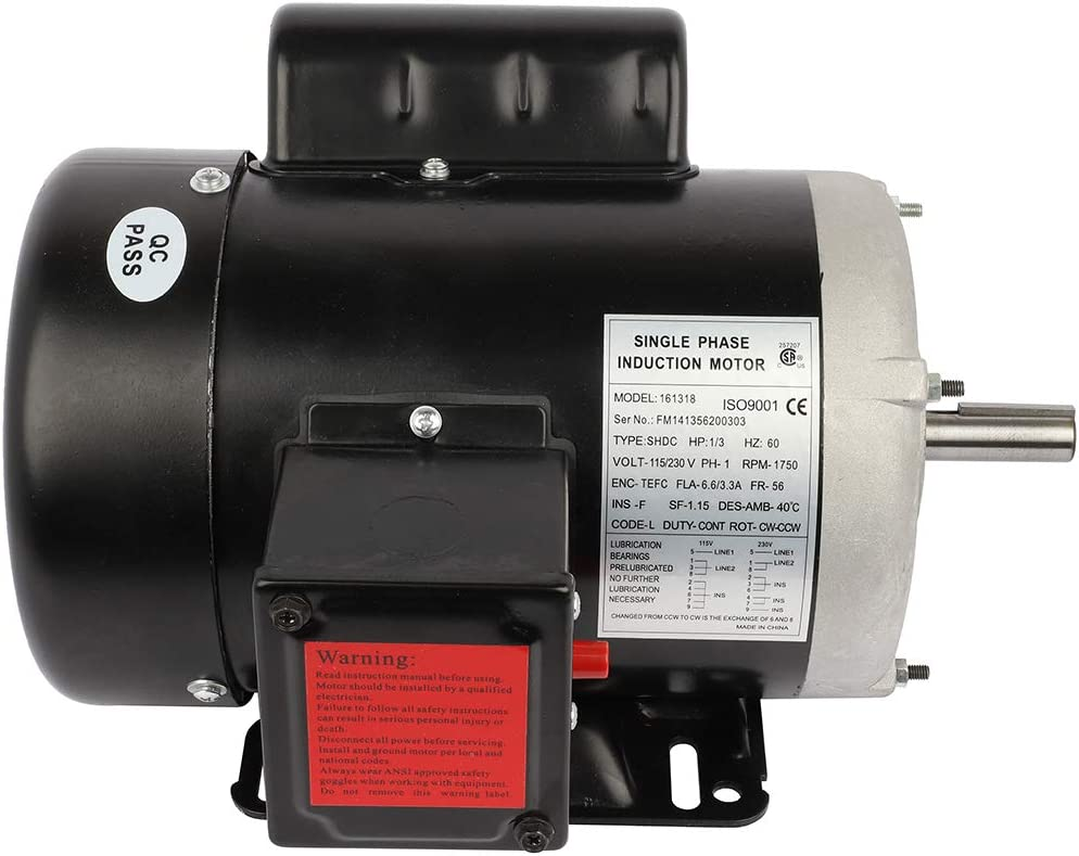 GYZJ 1/3Hp Electric Motor for Air Compressor Single Phase 1750RPM 60HZ115/230Volt CW/CCW Rotation Compressor Duty Electric Motor