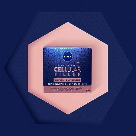 NIVEA Hyaluron Cellular Filler + Elasticidad & Antigravedad Cuidado de Noche (1 x 50 ml), crema facial de noche, crema antiarrugas con ácido hialurónico, crema antiedad