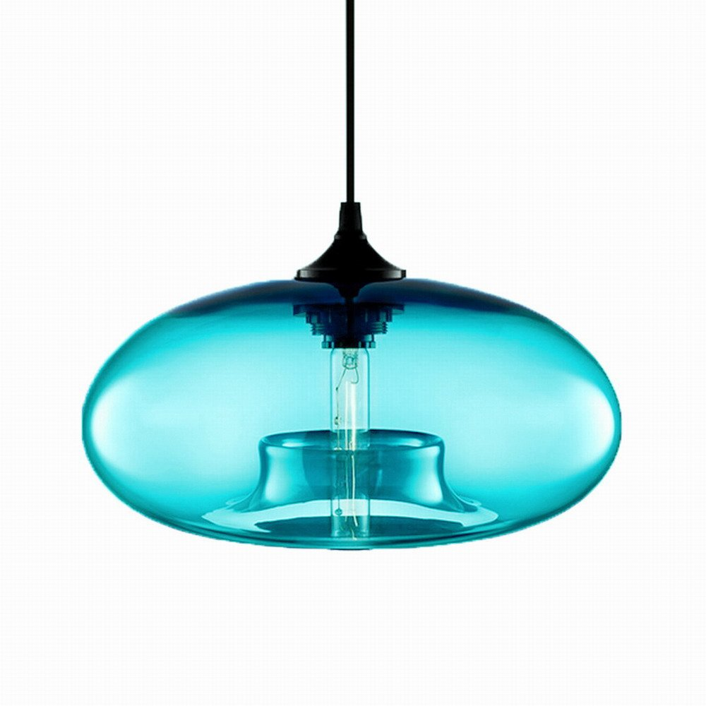 Hanging Glass Ball Edison Pendant Lights Kitchen Island Lighting Fixtures(Turquoise)