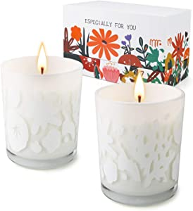 Candles for Home Scented, Aromatherapy Candles, Candles Gifts for Women, Home Decor Jar Soy Scented Candles, Lavender & Huckleberry Candles, Highly Scented & Long Lasting, Christmas Gifts [2 Pack]