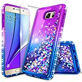 Galaxy Note 5 Case with Tempered Glass Screen Protector for Girls Kids Women, NageBee Glitter Liquid Sparkle Bling Floating Waterfall Shockproof Cute Case for Samsung Galaxy Note 5 -Purple/Blue