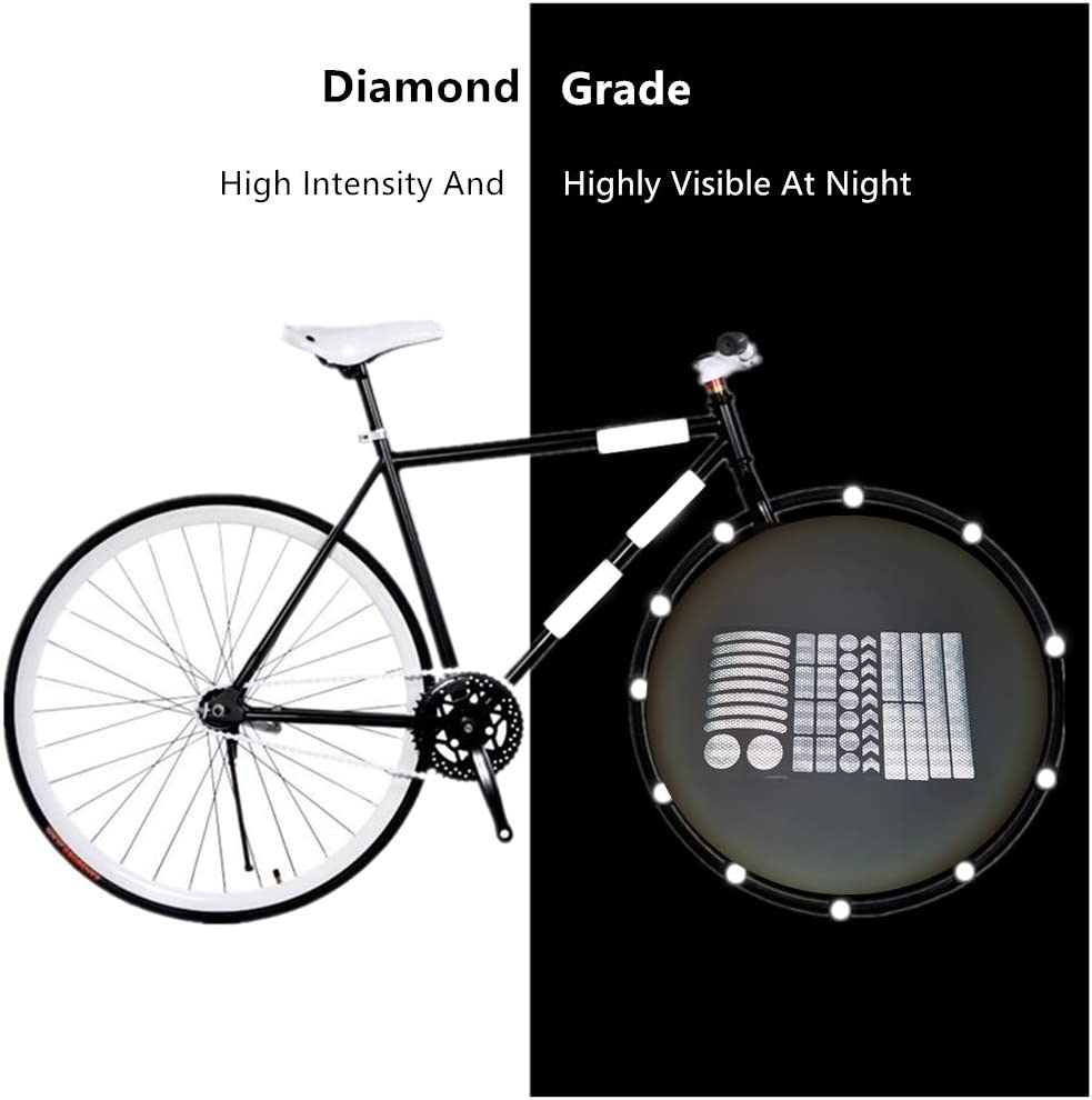 N//B 42pcs Reflective Stickers Waterproof Adhesive Decals Night Safety Stickers for Bicycle,Wheelchairs,Motorbike,Helmet,Stroller,Scooter,Hard Hat Reflective Decals Bike Reflective Tape