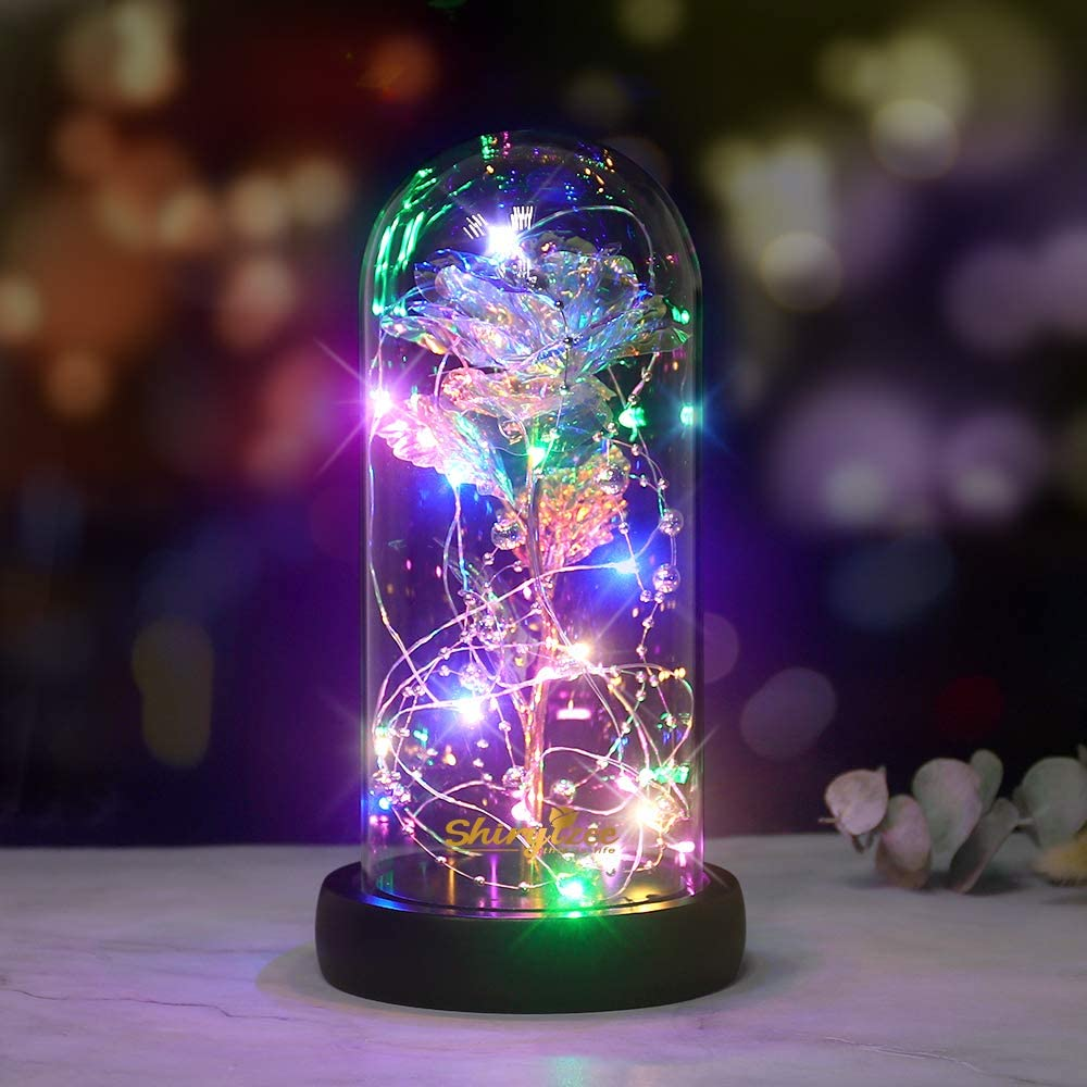 shirylzee Beauty and the Beast Rose Kit,Artificial Flower Rose Lamp with LED Fairy Lights Colorful Gold Foil Rose Dome on Wooden Base, ideal Home Decor,Gift for Women Christmas Birthday Party Holidays