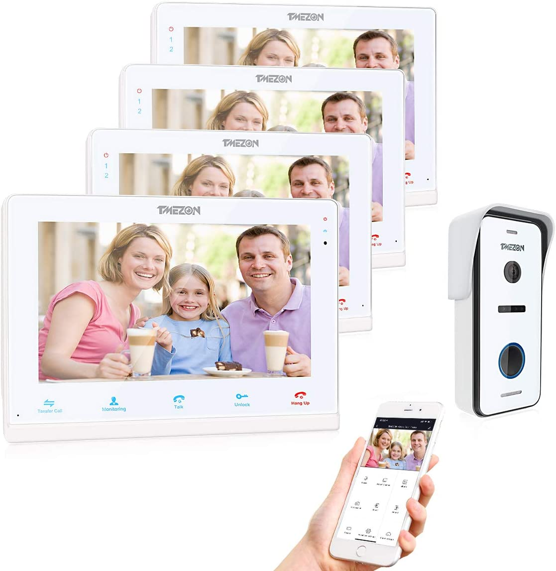 TMEZON Video Doorphone Intercom Doorbell System IP 4 Montior with 1200TVL Wired Doorbell Camera 10