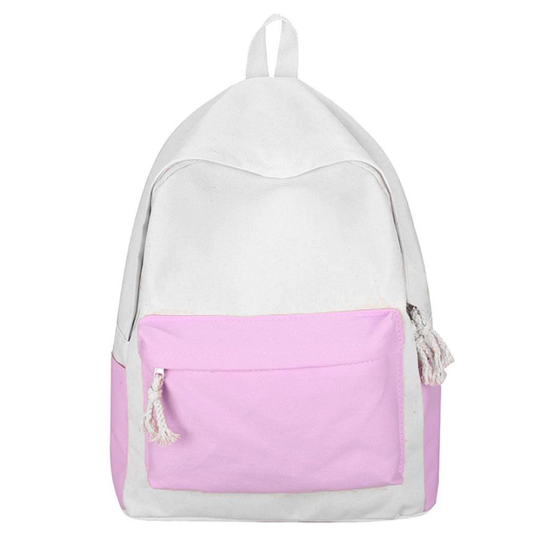 Girl Backpack, Balakie Canvas Hit Color Shoulder Bag Student School Book Bag Travel Daypack (Pink, Free Size)