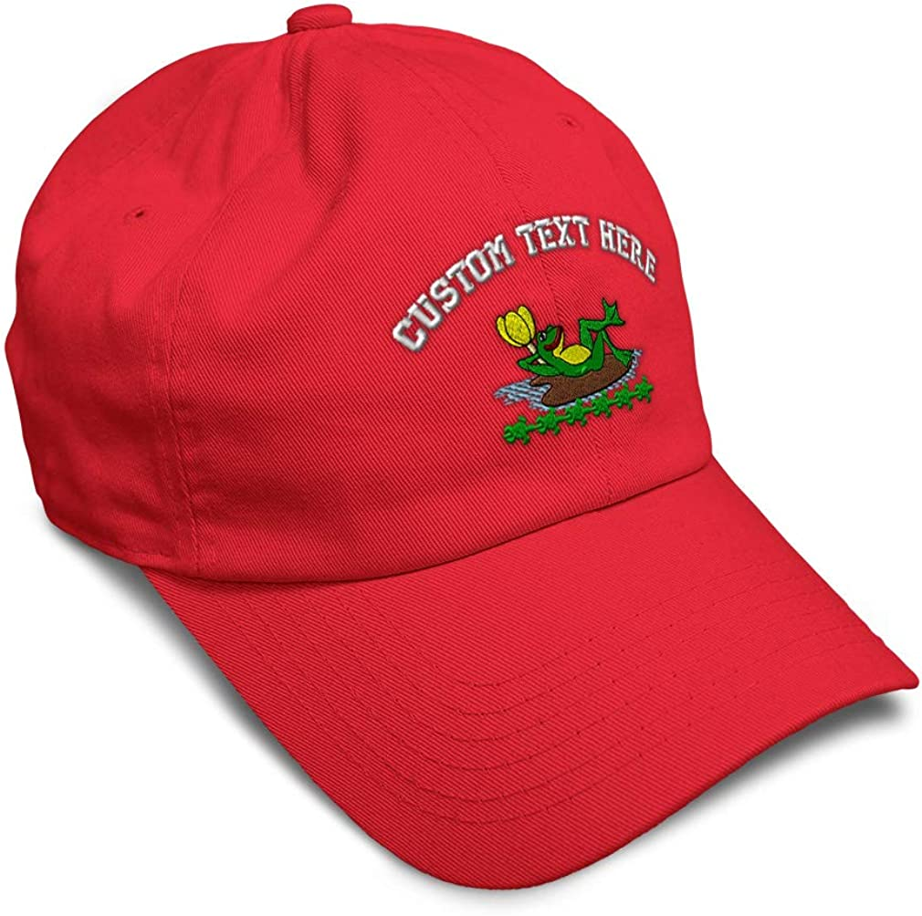 Custom Soft Baseball Cap Frog Sleeping on Lily Pad Embroidery Twill Cotton
