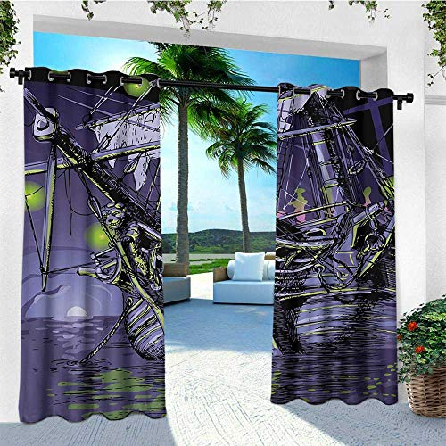 leinuoyi Pirate Ship, Outdoor Curtain of Lights, Ghost Ship on Fantasy Caribbean Ocean Adventure Island Haunted Vessel, for Patio W84 x L96 Inch Purple Lime Green
