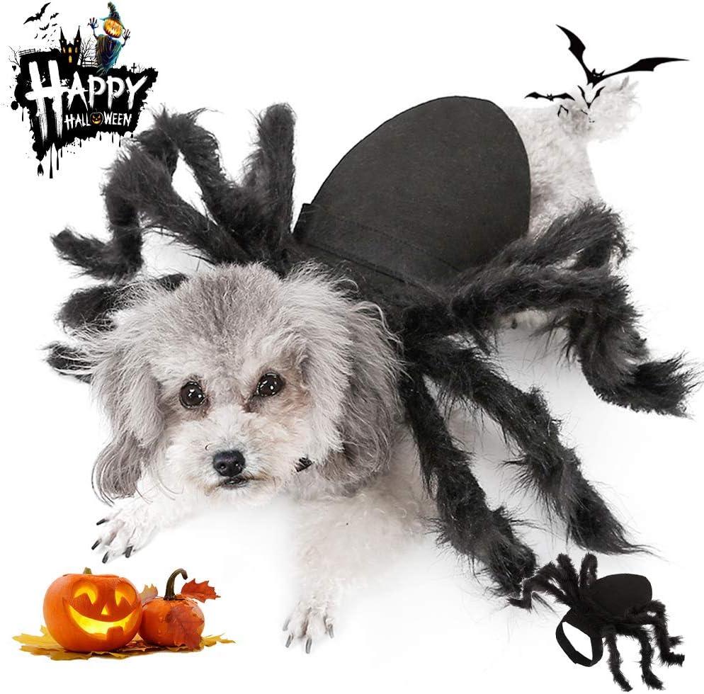 MeetLover Disfraz de araña grande de Halloween para gatos, alas de araña de terror, camisas de peluche, accesorios para disfraz de perro cosplay