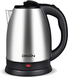 Dezin Electric Kettle Upgraded, 2L Stainless Steel Cordless Tea Kettle, Fast Boil Water Warmer with Auto Shut Off and Boil Dry Protection Tech for Coffee, Tea, Beverages