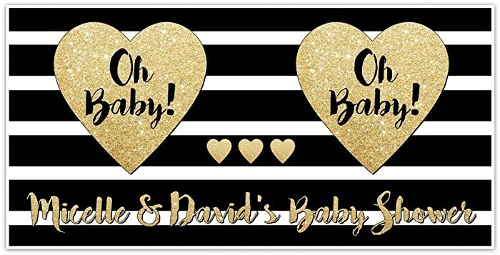 Amazon Oh Baby Custom Baby Shower Banner Party Decoration Gold