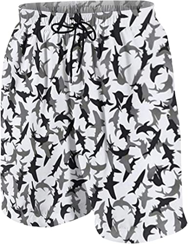 Kidhome Teenagers Boys Beach Board Shorts Swan Birds Summer Drawstring Beach Shorts Swim Trunks with Pockets for Teen Boys