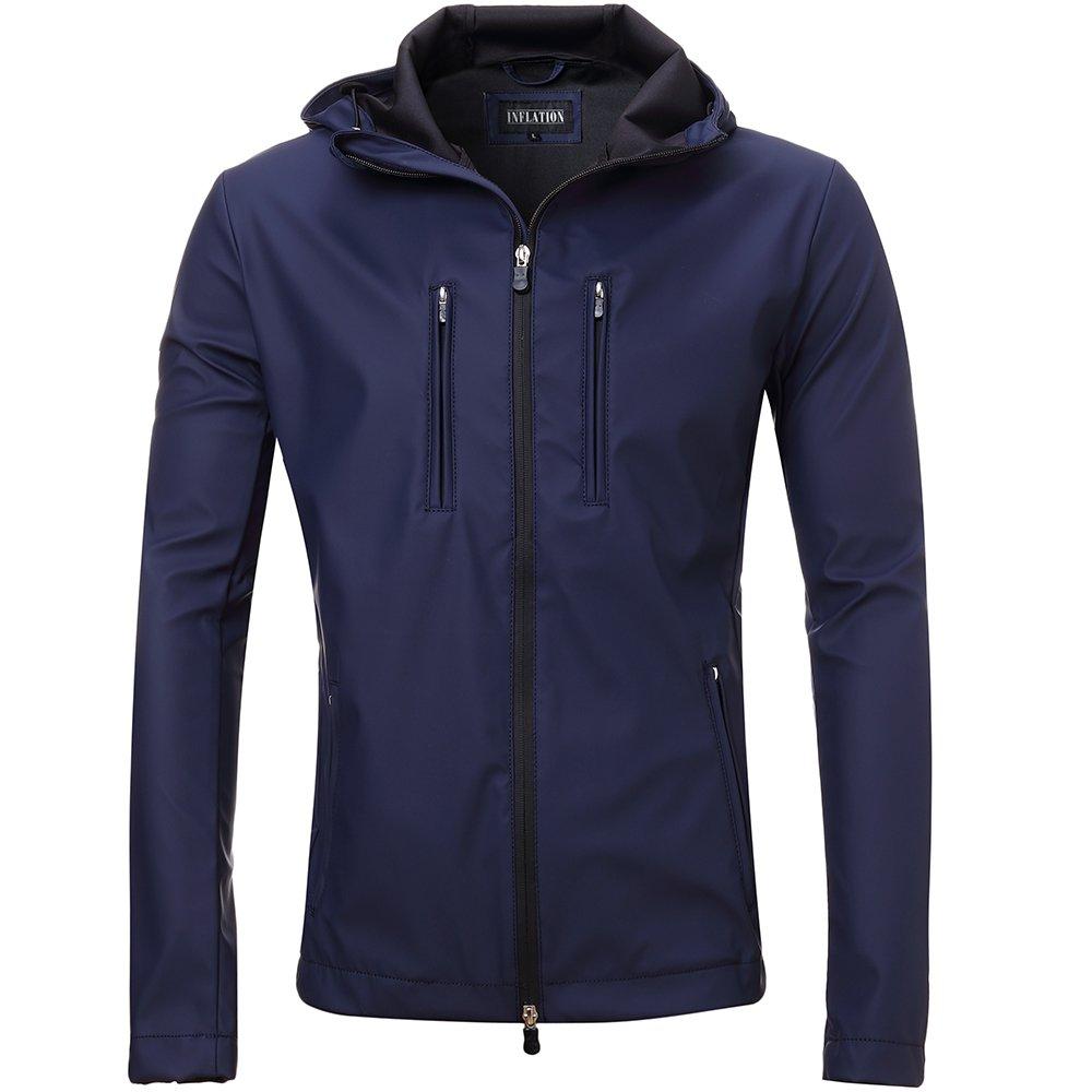 FLY HAWK Men's Lightweight Rain Jacket Soft Shell Waterproof Outdoor Hoodie Trench Coat