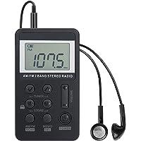 Personal AM/FM Pocket Radio Portable VR-robot, Mini Digital Tuning Walkman Radio, with Rechargeable Battery, Earphone…