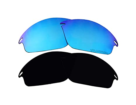 fd9898c94ace9 Image Unavailable. Image not available for. Color  2 Pairs Polarized  Replacement Lenses Black   Blue for Oakley Fast Jacket OO9097 Sunglasses