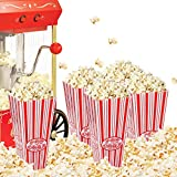Popcorn Bowl Plastic Container, Reusable Bucket Red & White Striped, Movie Theater Tub (Pack of 4)