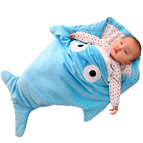 La Haute quitar eslabones de algodón bebé saco de dormir, diseño de tiburón Forma suave