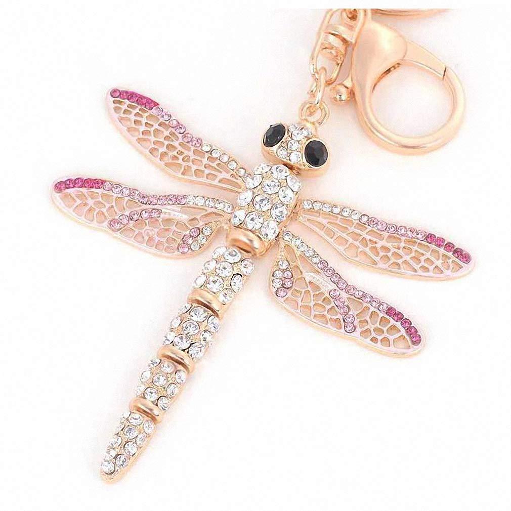 Amazon.com: Llavero con diseño de libélula de cristal ...