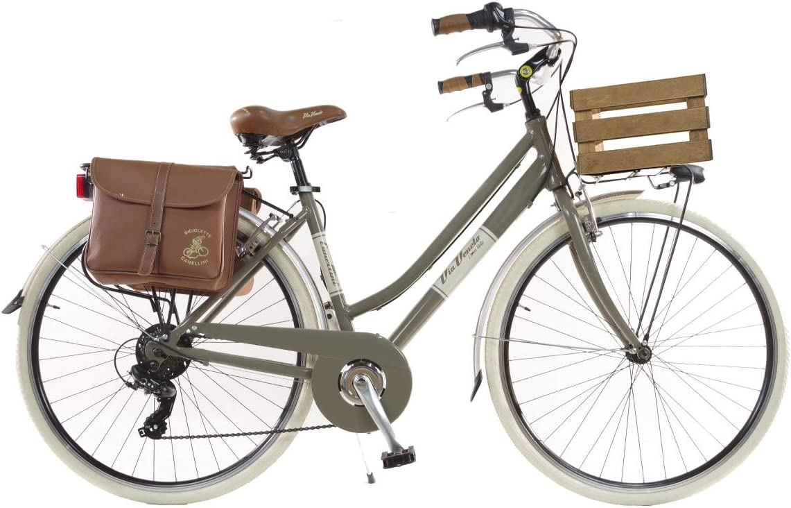 Via Veneto by Canellini Bicicleta Bici Citybike CTB Mujer Vintage Retro Via Veneto Aluminio con Cajita (Safari, 46): Amazon.es: Deportes y aire libre
