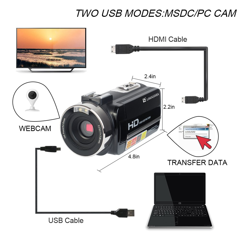 Camera Camcorders, LAKASARA Full HD 1080P 24MP IR Night Vision Video Camera Recorder with 16X Digital Zoom 3 Inch LCD Touchscreen and External Microphone Video Camcorder by LAKASARA (Image #5)