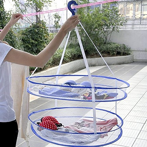 Clothes Hangers Decorative, Clothes Hangers Bulk Laundry Hanger Dryer Foldable Clothes Basket 2 Tiers Mesh Net Drying Rack, Material Nylon (Telescoping Bag Dryer)