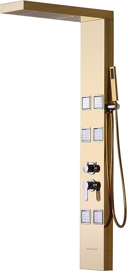WEITING montado en la pared de oro de acero inoxidable mampara de ducha de lluvia / cascada de masaje pulverizador / ducha ducha / baño de ducha monomando con columna de hidromasaje: