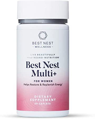 Best Nest Women's Multi+, Methylfolate, Methylcobalamin (B12), Vegan Multivitamins, Probiotics, Natural Whole Food Organic Blend, Once Daily Multivitamin, Immune Support, 30 Ct. Best Nest Wellness