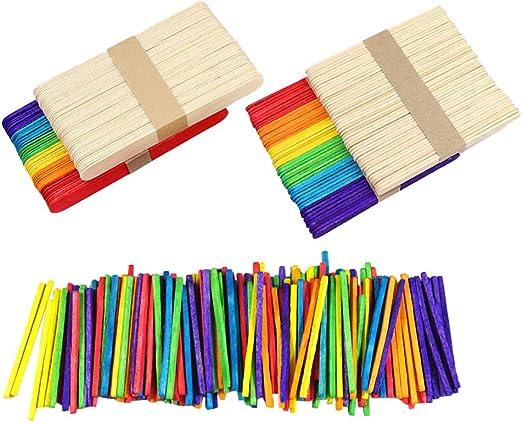TOYANDONA 1200 palillos de madera de colores para manualidades ...