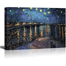 "wall26 Starry Night over The Rhone Vincent Van Gogh - Oil Painting Reproduction on Canvas Prints Wall Art, Ready to Hang - 24"" x 36"""