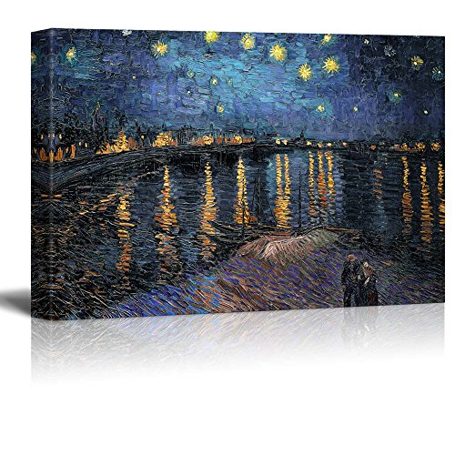 "Wall26 - Starry Night over The Rhone by Vincent Van Gogh - Oil Painting Reproduction on Canvas Prints Wall Art, Ready to Hang - 24"" x 36"""