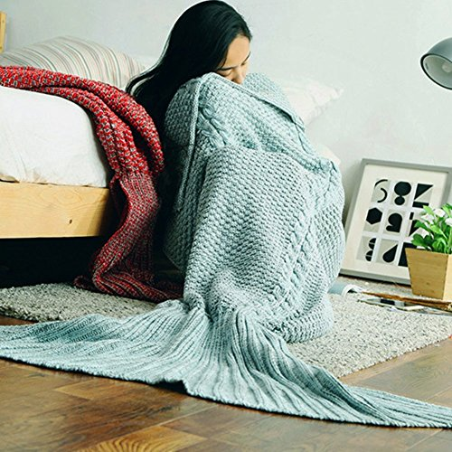 ONEPACK Mermaid Tail Crochet Blanket,Handmade Mermaid Blanket for adult,Super Soft Comfortable for All Seasons Sleeping Reading Watching Working Sofa …