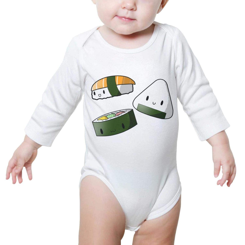 PoPBelle Four Cute Sushi Babies Baby Onesie Romper Long Sleeve Neutral Cotton Cute
