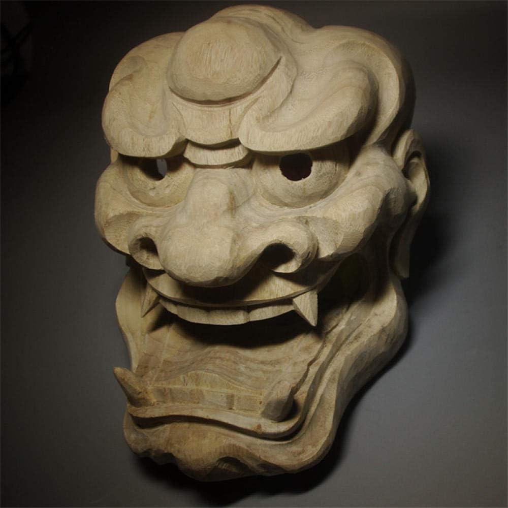 Wooden Sculpture Statuelion Face Wall Decors Solid Wood Mask Decor Japanese NOH Masks Halloween Demoniacal Tattoo Yoga Statue